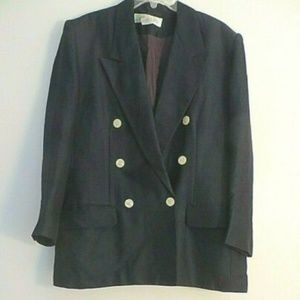 VTG. CHAUS  NAVY  DOUBLE BREASTED OVERSIZED BLAZER